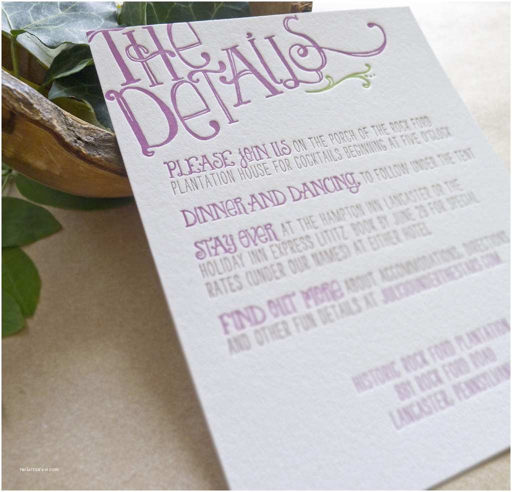Wedding Invitation Details Card Letterpress Wedding Invitation Details Card