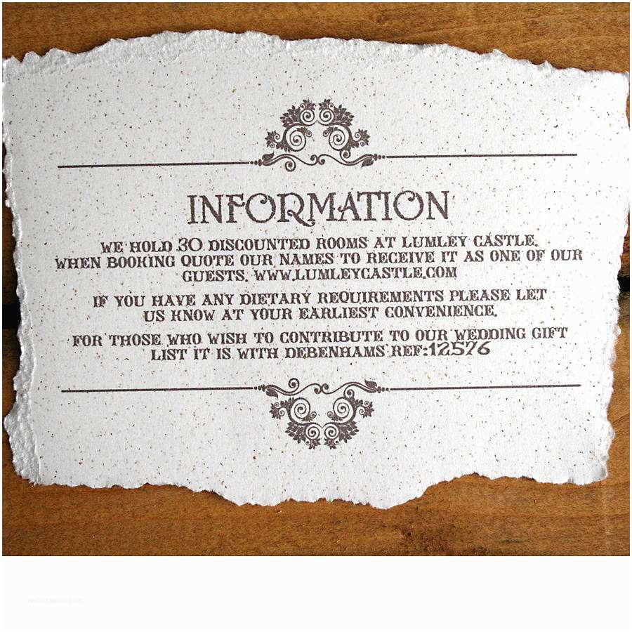 Wedding Invitation Details Card Vintage Style Wedding Invitation by solographic Art