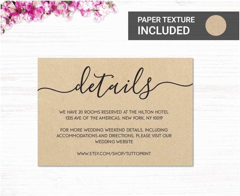 Wedding Invitation Details Card Wedding Details Printable Card On Kraft Paper Background