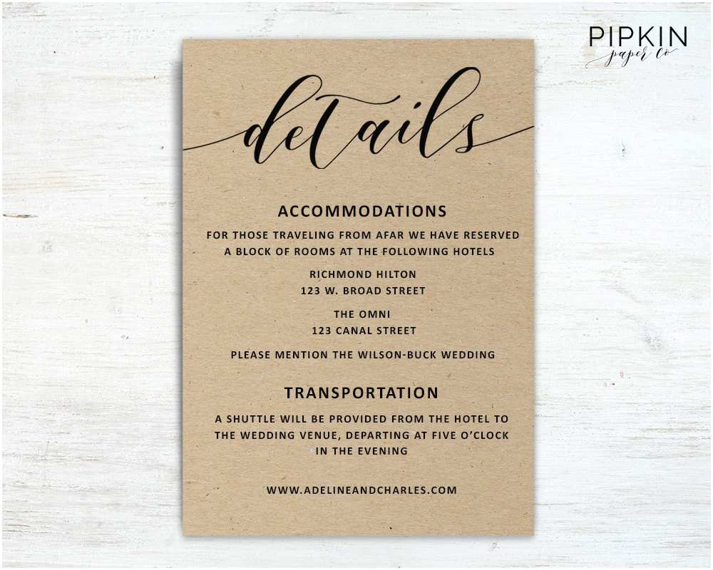 Wedding Invitation Details Card Wedding Details Template Wedding Information Card Rustic