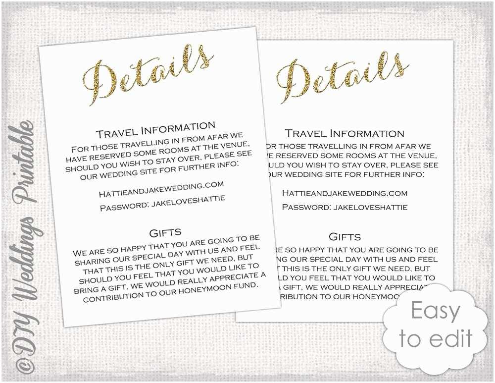 Wedding Invitation Details Card Wedding Enclosure Template Diy Calligraphy Gold