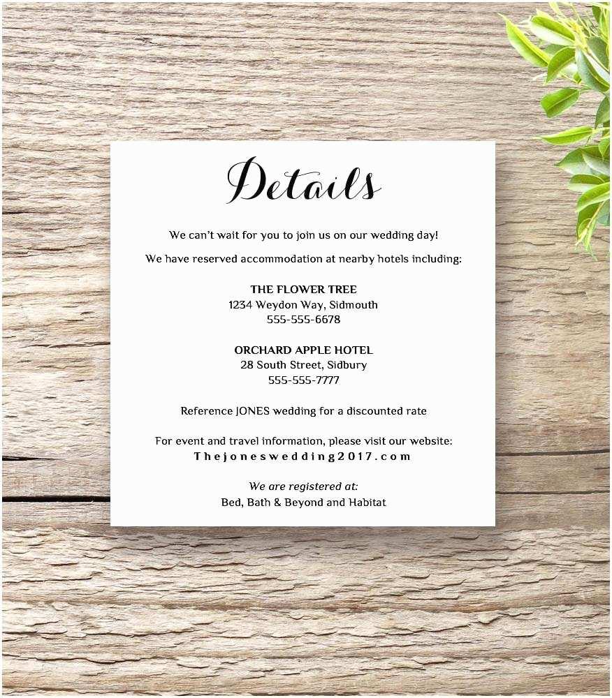 Wedding Invitation Details Printable Wedding Invitation Rsvp Information Templates
