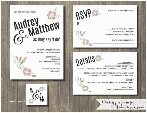 Wedding Invitation Details Printable Wedding Invitation Set Invite Rsvp Card Details