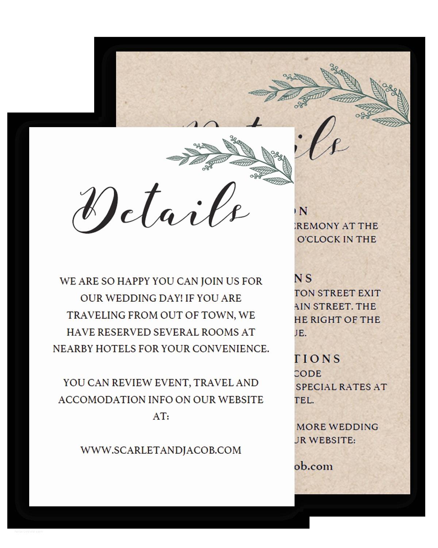 Wedding Invitation Details Wedding Information Card Template Birthday Invitation