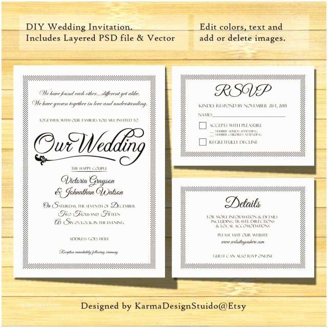 Wedding Invitation Details Wedding Invitation Template Instant Download Printable