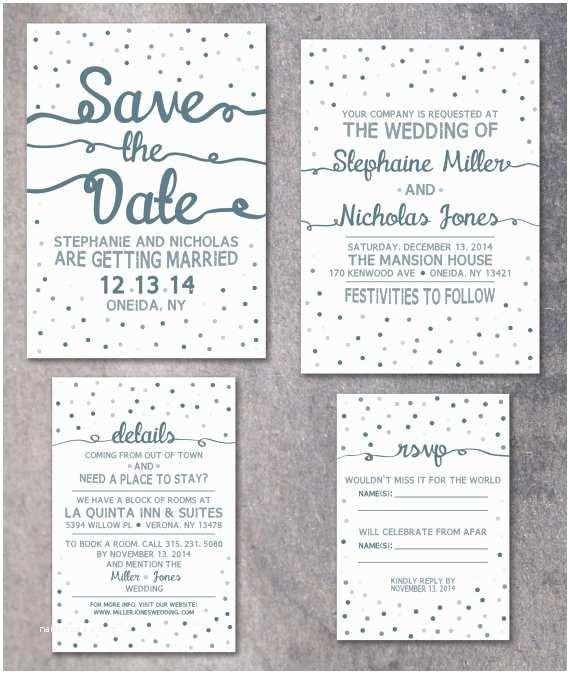 winter wedding invitation confetti