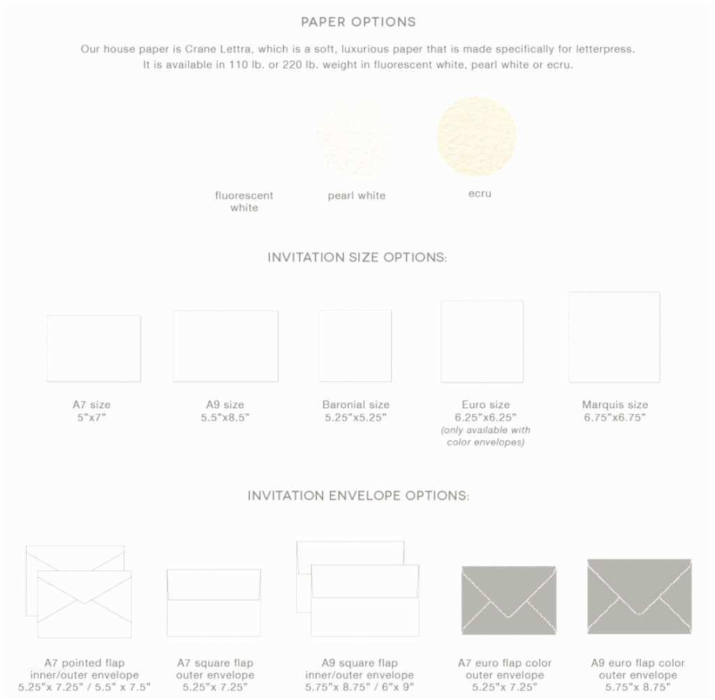 wedding invitation sizes