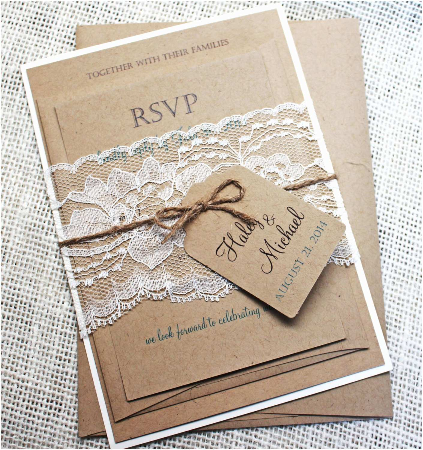 Wedding Invitation Diy Diy Rustic Wedding Invitation Kit Eco Kraft and Rustic Lace