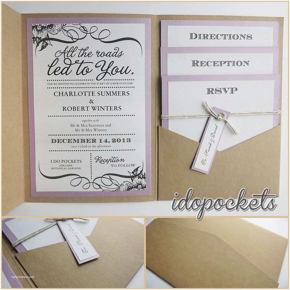 Wedding Invitation Diy Kraft Wedding Pocket Invitations Diy Pocketfold Envelopes