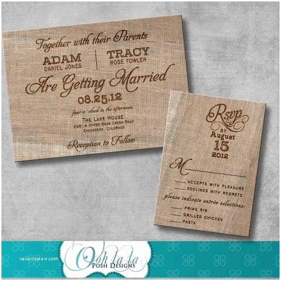 Wedding Invitation Diy Rustic Burlap Wedding Invitation Diy Printable