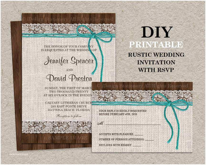 Wedding Invitation Diy Rustic Wedding Invitations