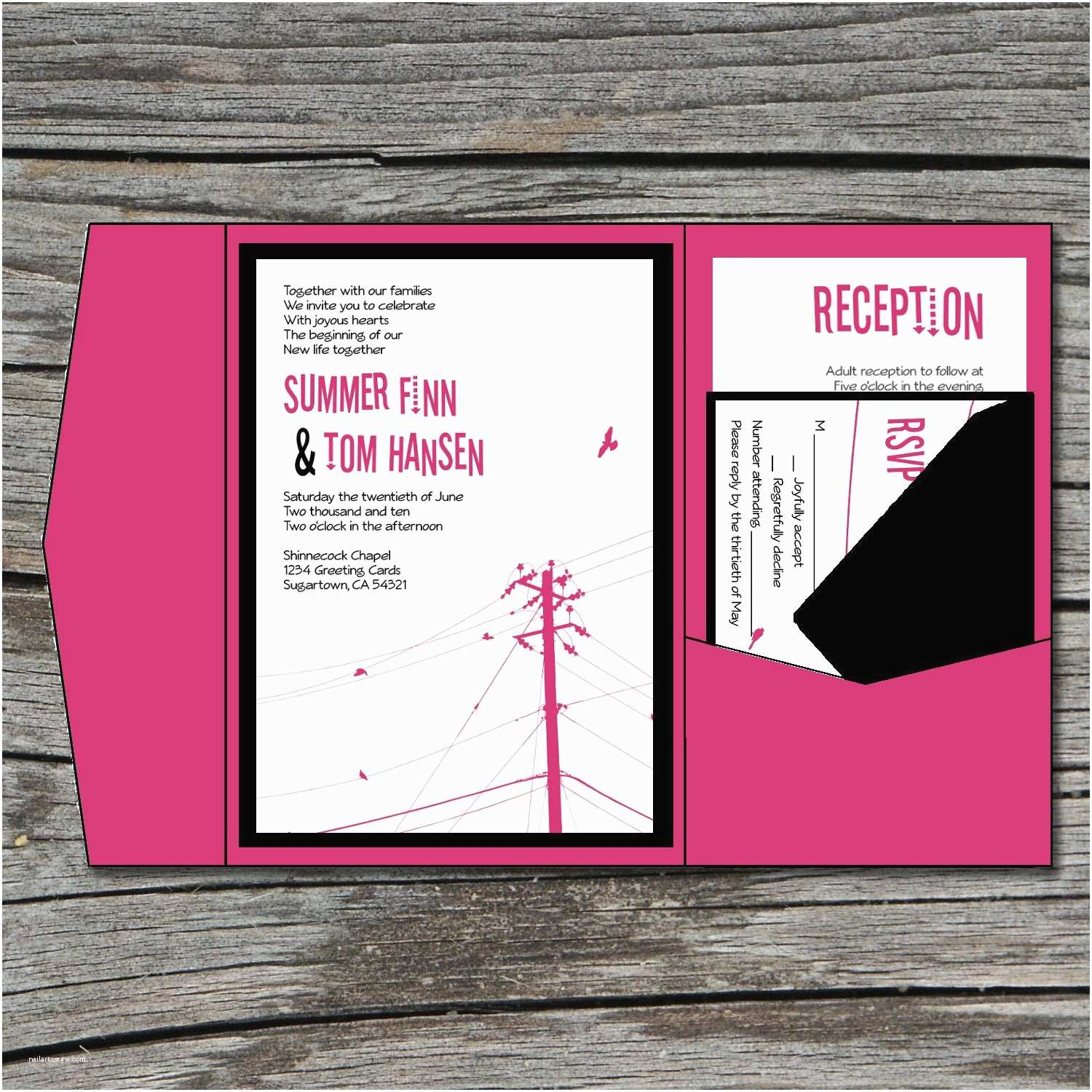Wedding Invitation Diy Wedding Invitation Diy Pocketfold Modern Power Lines
