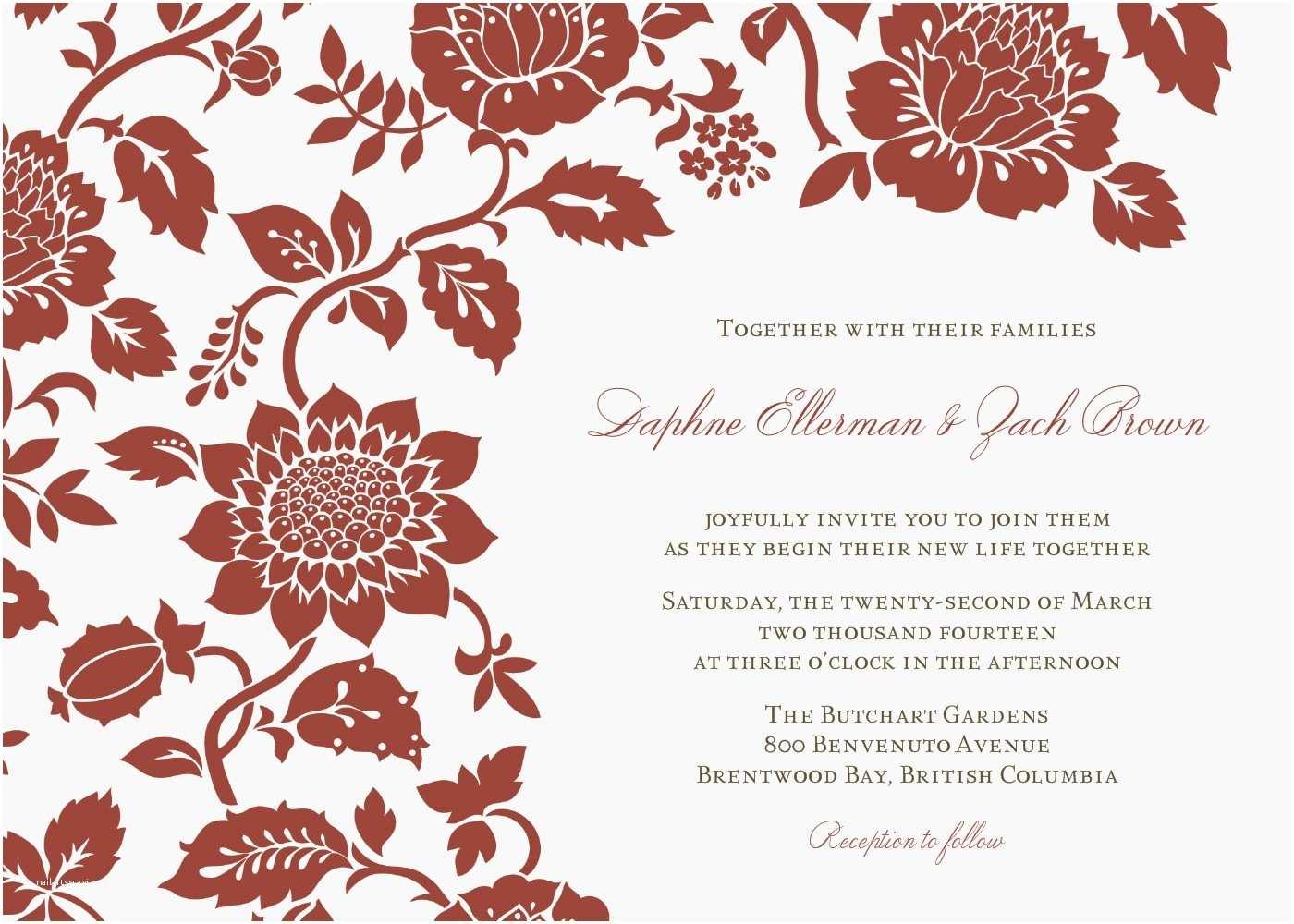 Wedding Invitation Email Template Wedding Invitation Wording