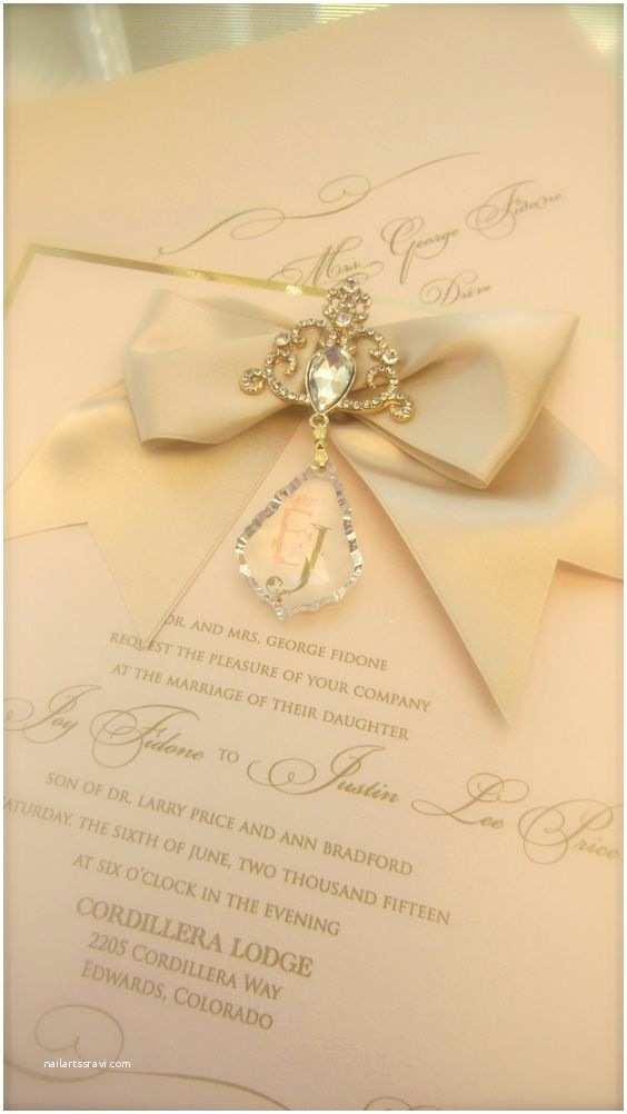 Wedding Invitation Embellishments Blush and Gold Hanging Crystal Invitation with ornate