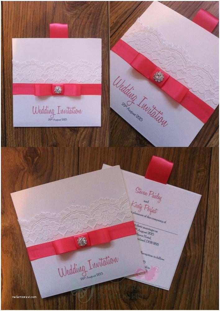 Wedding Invitation Embellishments Coral Wallet Wedding Invitation with Lace and Diamante