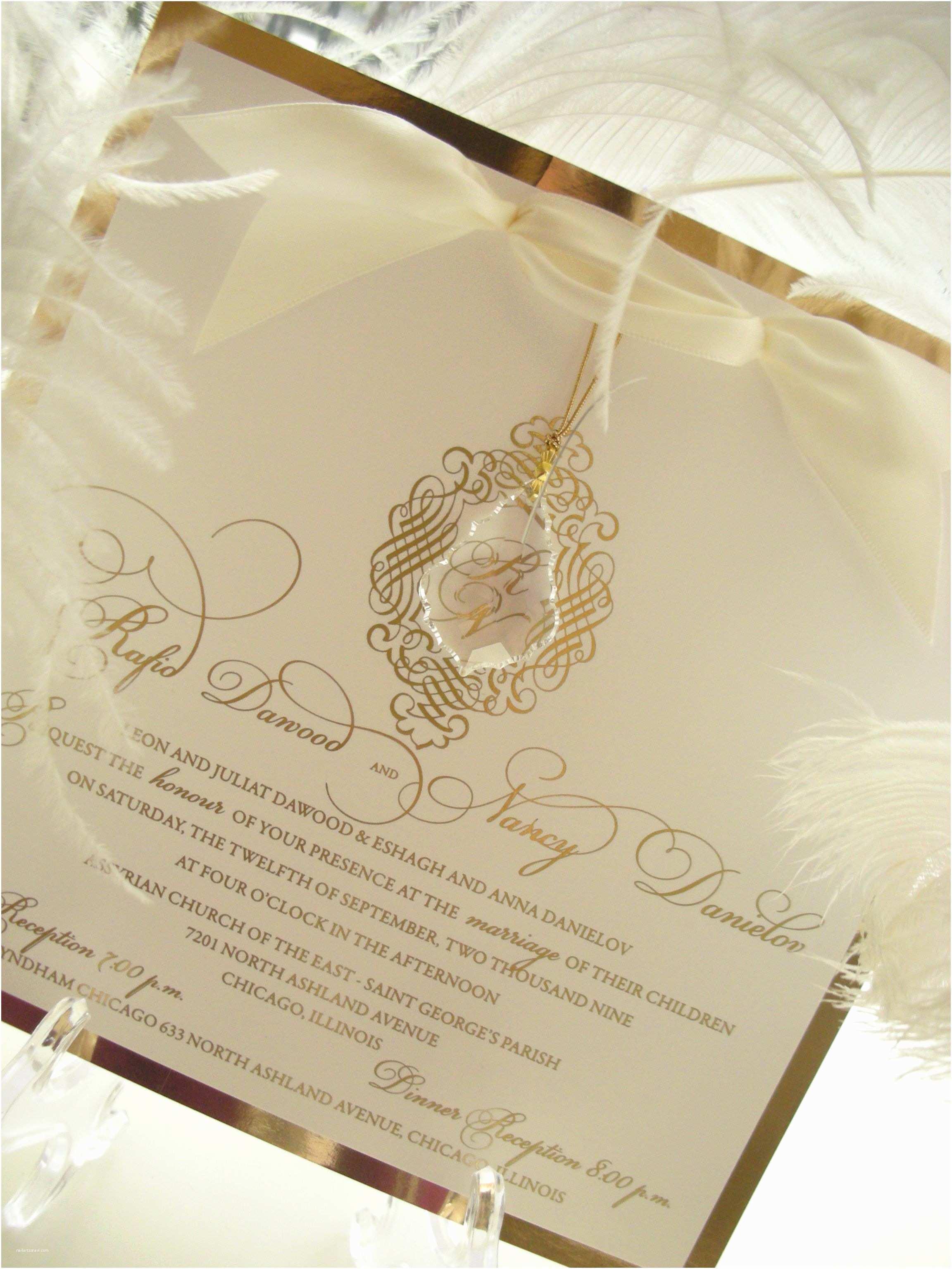 "Wedding Invitation Embellishments ""revelry"" Hanging Crystal and Gold Mirror Wedding"