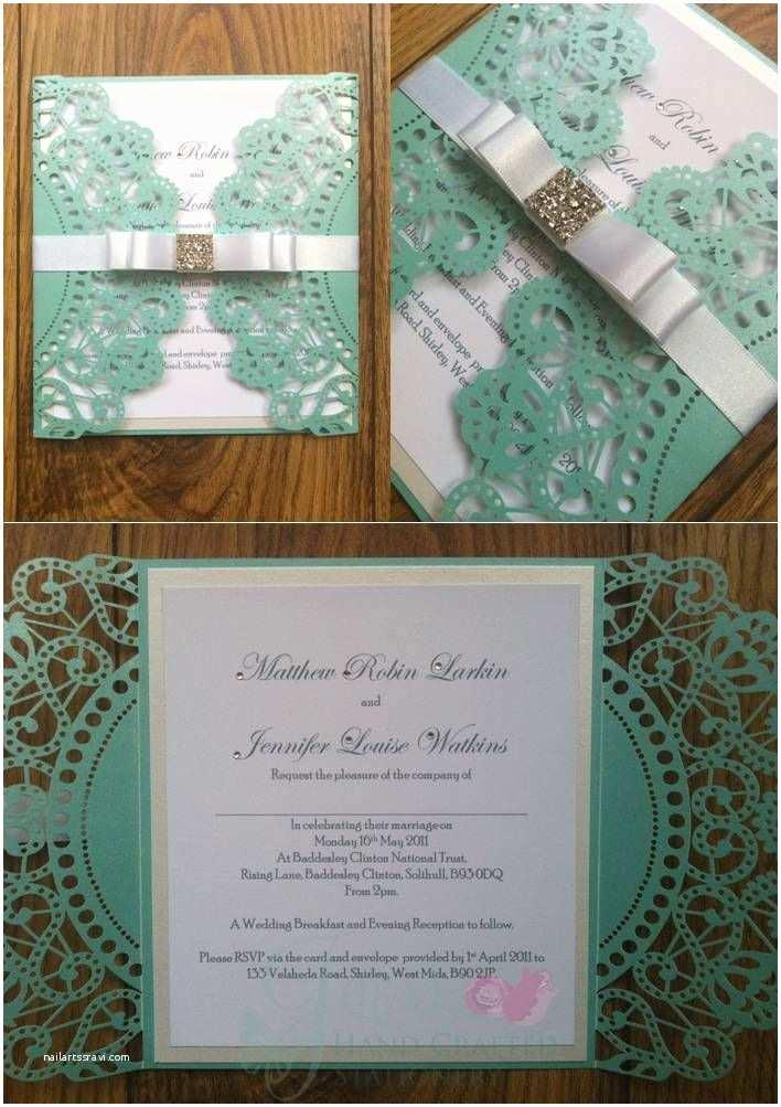 Wedding Invitation Embellishments Tiffany Blue Laser Wedding Invitation with Diamante