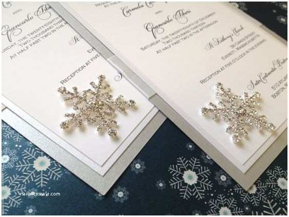 Wedding Invitation Embellishments Winter Wedding Invitation Snowflake Rhinestone