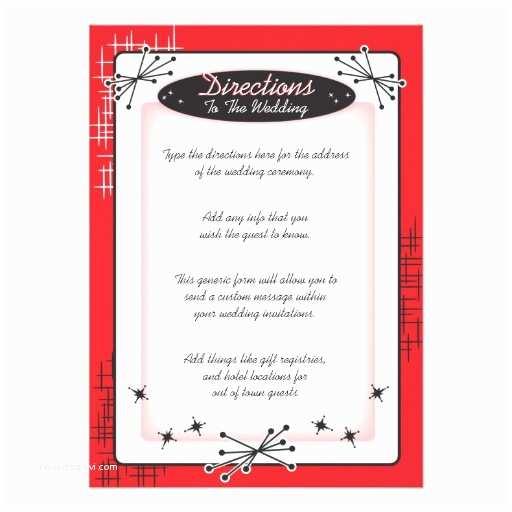 Wedding Invitation Enclosures 1950 S Wedding Invitation Enclosure Red and Black