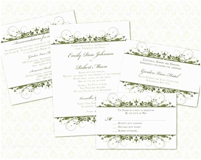 Wedding Invitation Enclosures Diy Wedding Invitation Template Set 5x7 Invitation