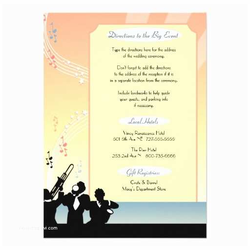 "Wedding Invitation Enclosures Hollywood Musical Wedding Invitation Enclosure 4 5"" X 6 25"