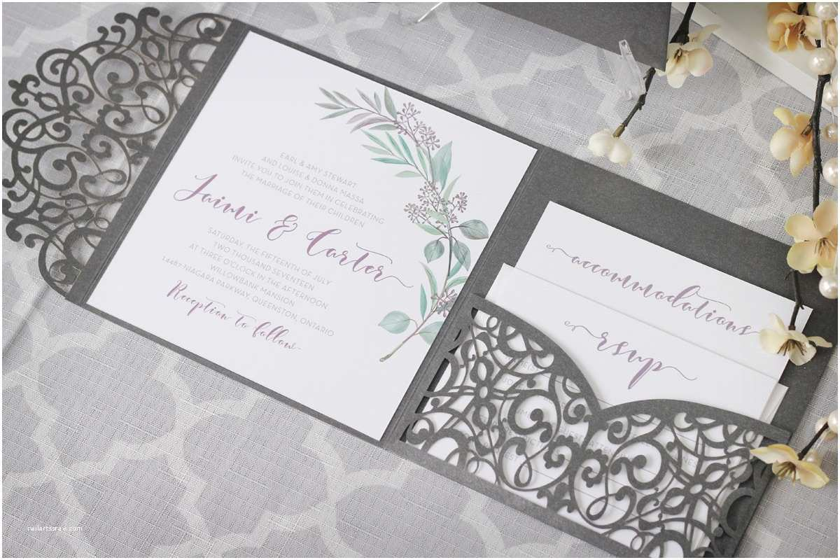 Wedding Invitation Enclosures Olive Branch Tuscan Wedding Invitations with Laser Cut