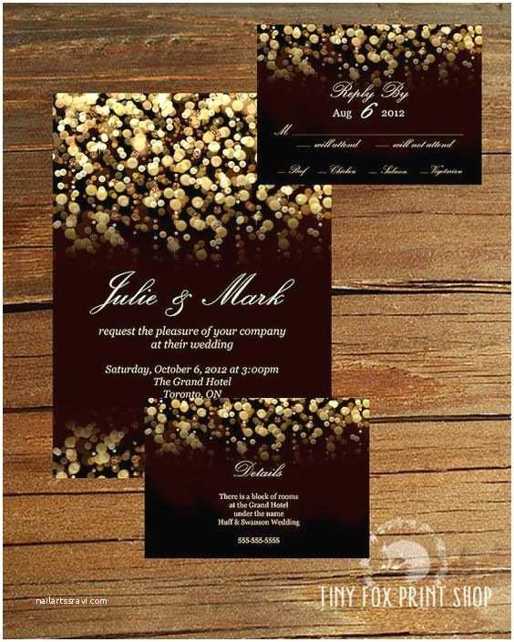 Wedding Invitation Enclosures Printable Gold Glitter Gatsby Wedding Invitation Kit with