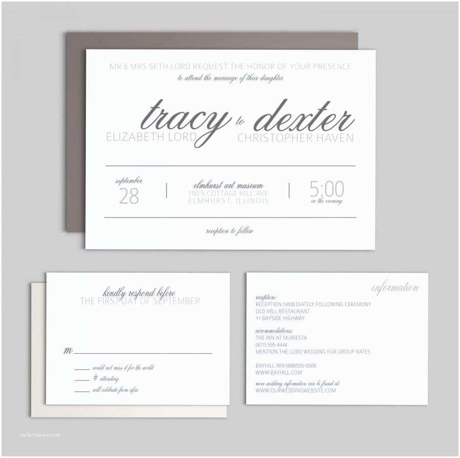 printable wedding invitation set simple script wedding invitation enclosure card and rsvp