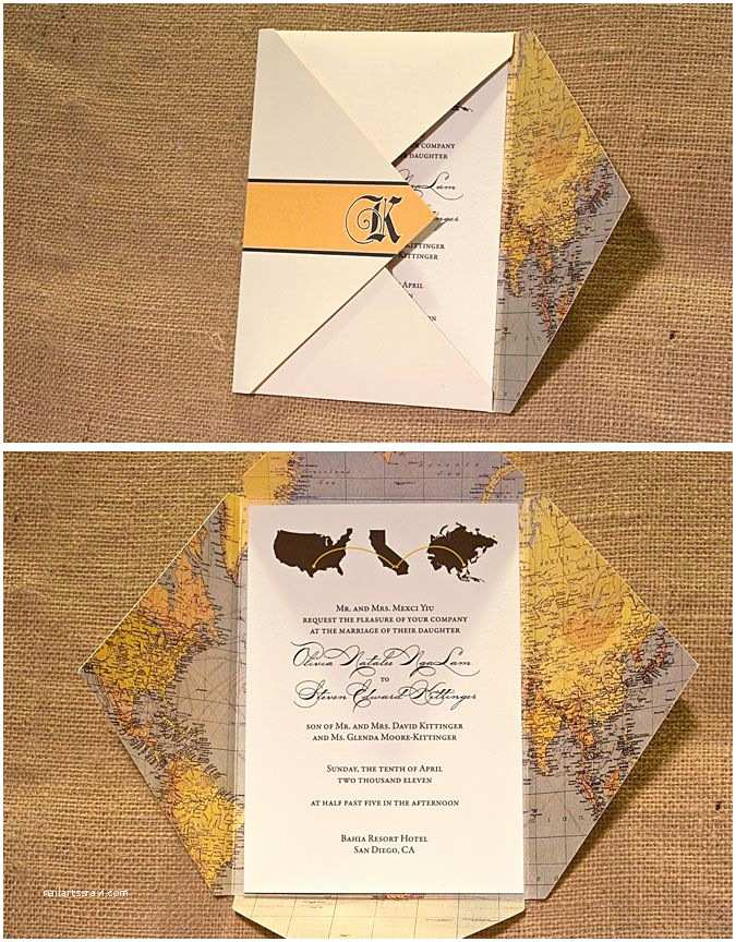 Wedding Invitation Enclosures Travel theme Wedding Invitation with Vintage Map Enclosure