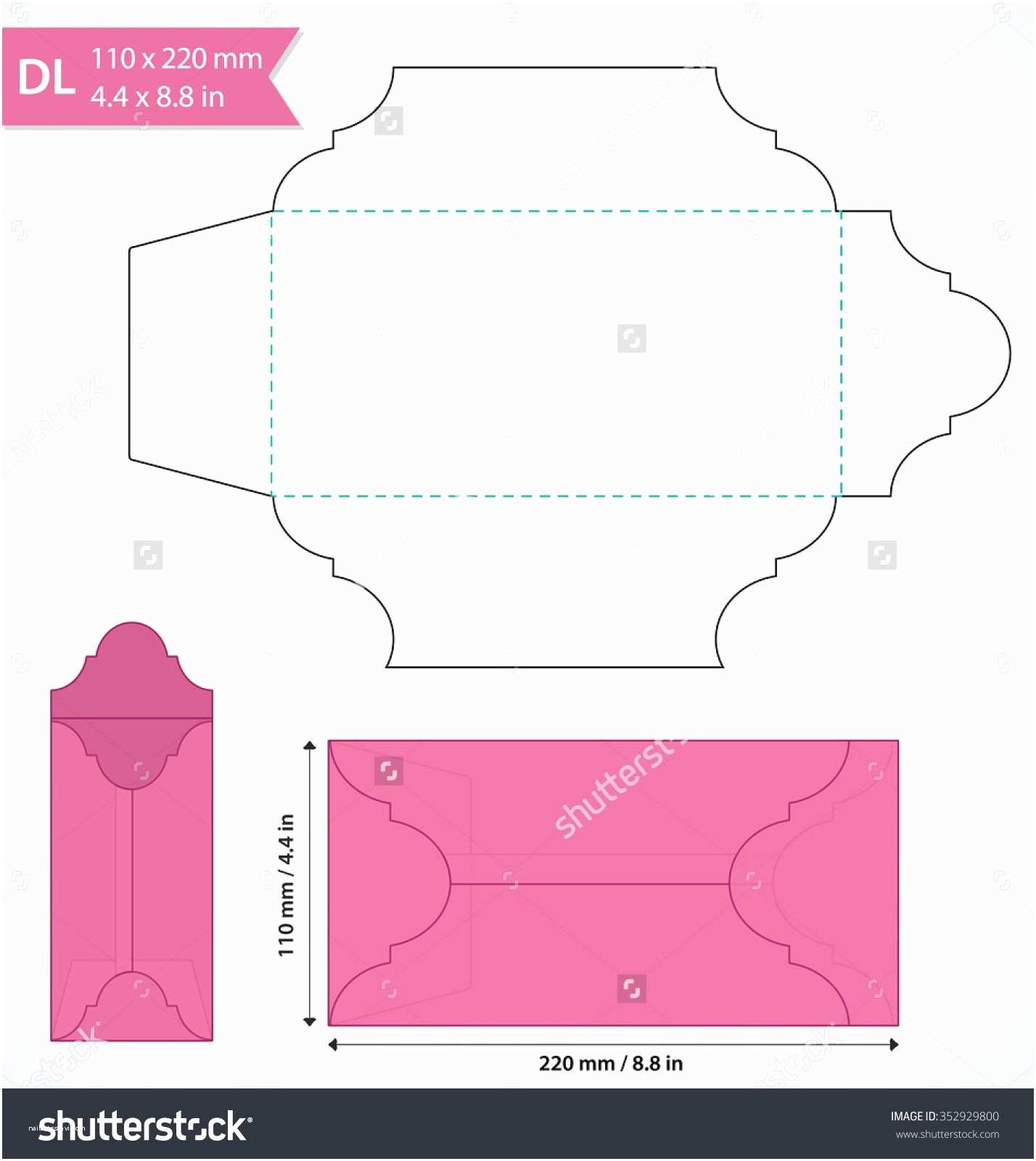 Wedding Invitation Envelope Address Template Die Cut Vector Envelope Template Standard Dl Size