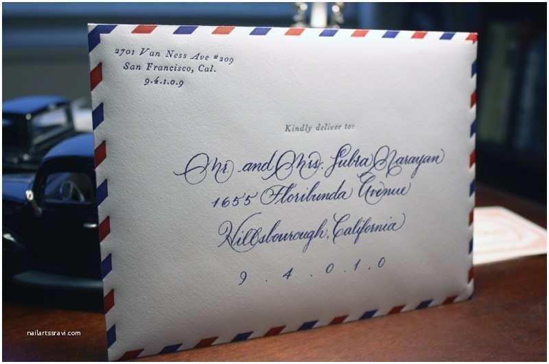 Wedding Invitation Envelopes Vintage Airmail Inspired Wedding Invitations