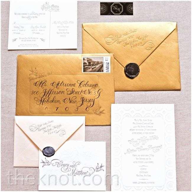 Wedding Invitation Envelopes Vintage Gold Invitation