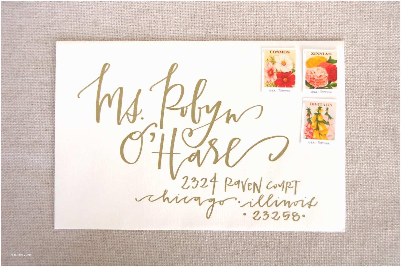 Wedding Invitation Envelopes Wedding Calligraphy Envelope Addressing Gold by