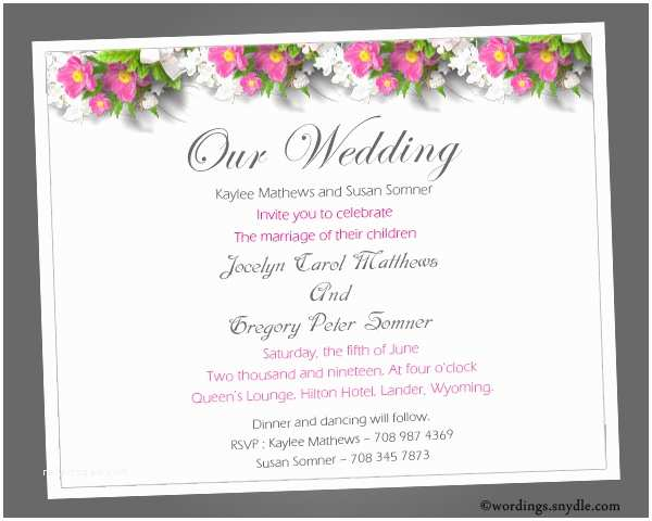 Wedding Invitation Examples Sample Wedding Invitation Wording – Gangcraft