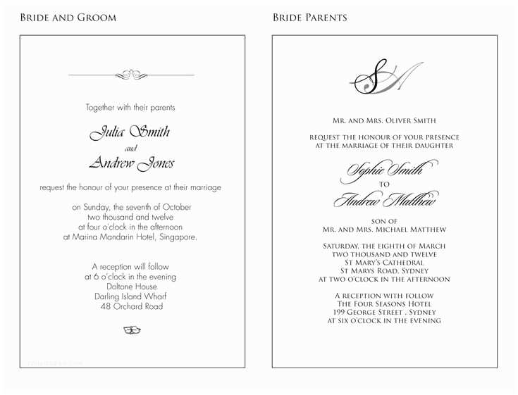 Wedding Invitation Examples Wedding Invitation Wording Examples – Mini Bridal