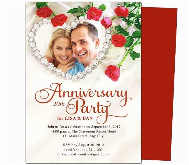 Wedding Invitation Flyer Template Heart Frame Anniversary Invitation Template