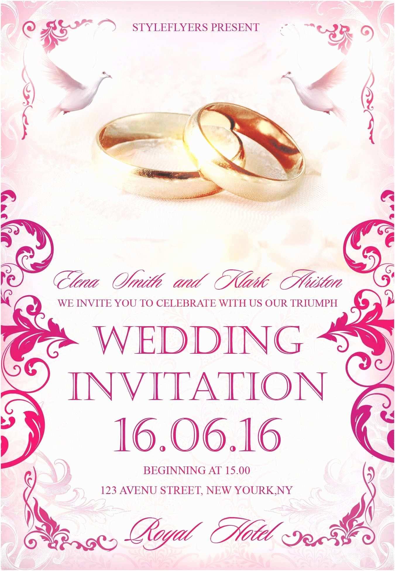 Wedding Invitation Flyer Template Old Fashioned Invitation Flyer Template Vignette Simple