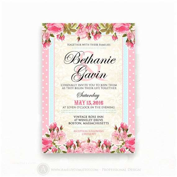 Wedding Invitation Flyer Template Printable Wedding Invitation Pink Weddings Invite Flyer