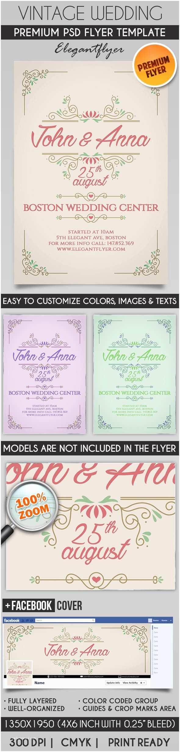 Wedding Invitation Flyer Template Vintage Wedding Invitation – Flyer Psd Template – by