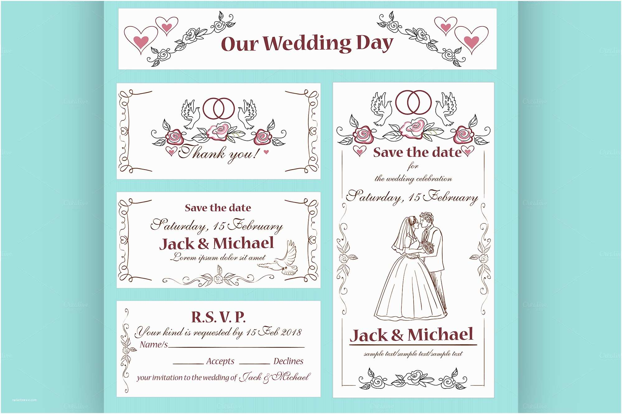 Wedding Invitation Flyer Template Wedding Invitation Thank You Card Flyer Templates On