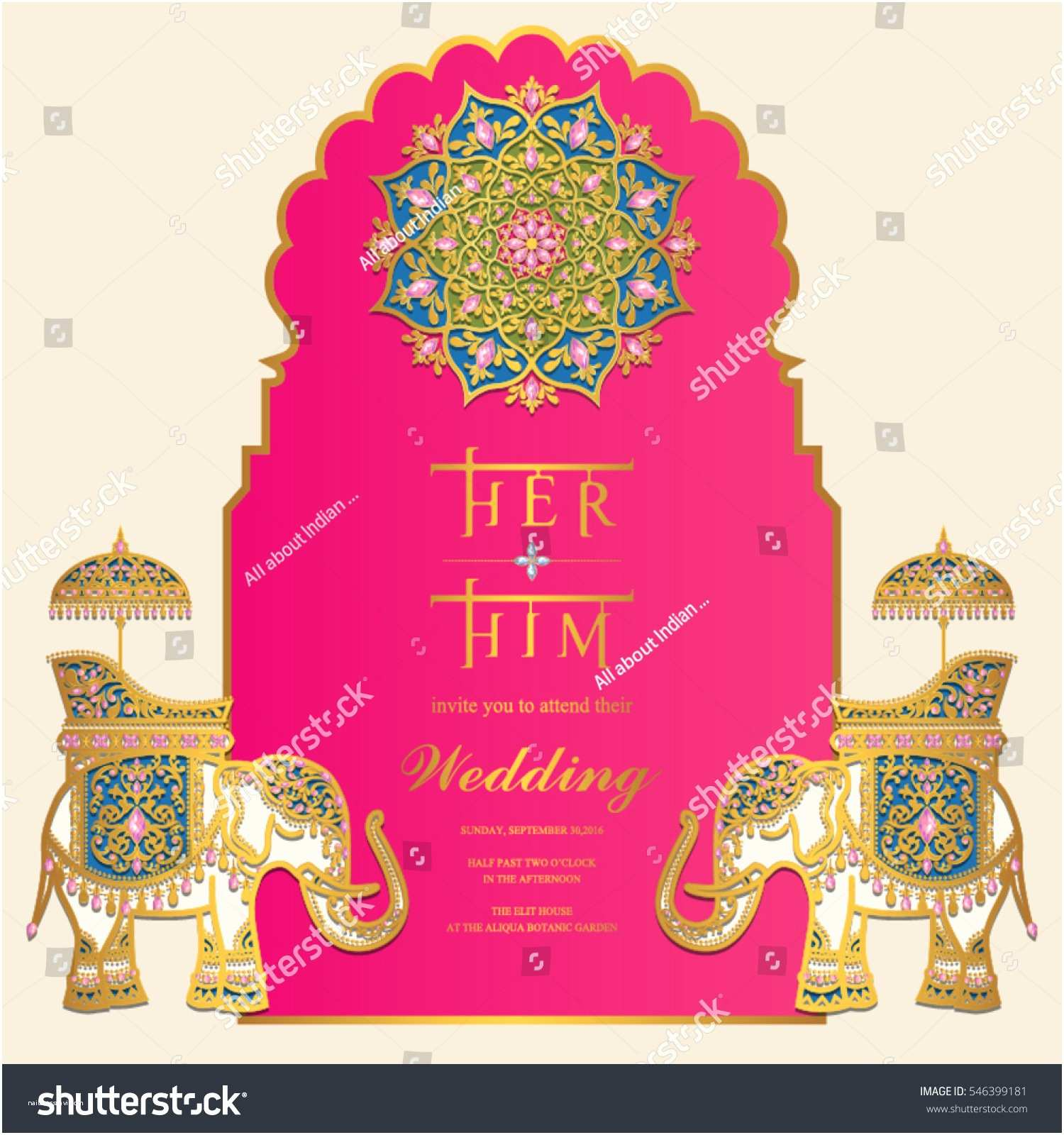 Wedding Invitation for Indian Wedding Indian Wedding Invitation Card Templates Gold Stock Vector