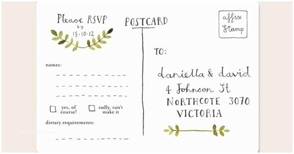 Wedding Invitation form Cards Rsvp Postcards for Wedding Invitations and Other