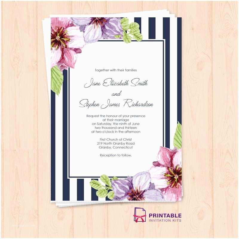 Wedding Invitation form Retro Stripes Floral Wedding Invitation Template ← Wedding