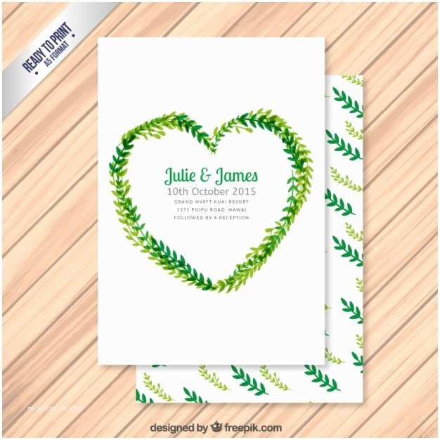 Wedding Invitation form Wedding Invitation with Leaves In Heart form Vector