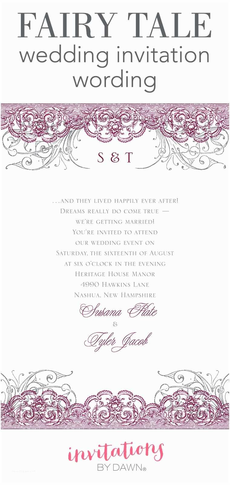 Wedding Invitation format Fairy Tale Wedding Invitation Wording