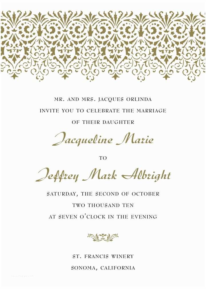 Wedding Invitation format formal Wedding Invitation Wording