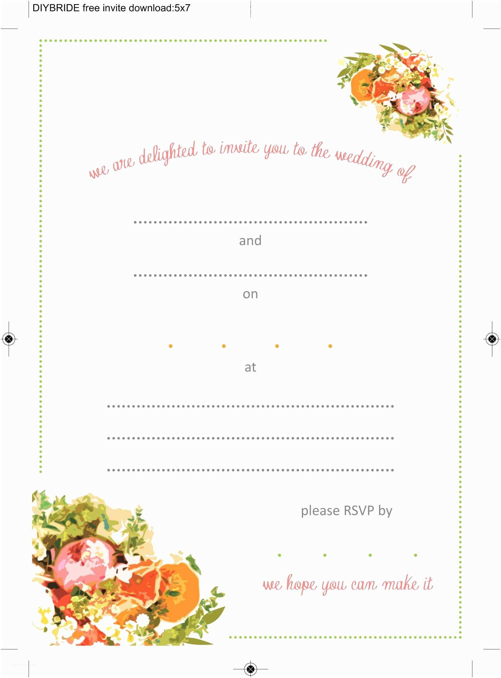Wedding Invitation format Free Printable Wedding Invitation Templates Download