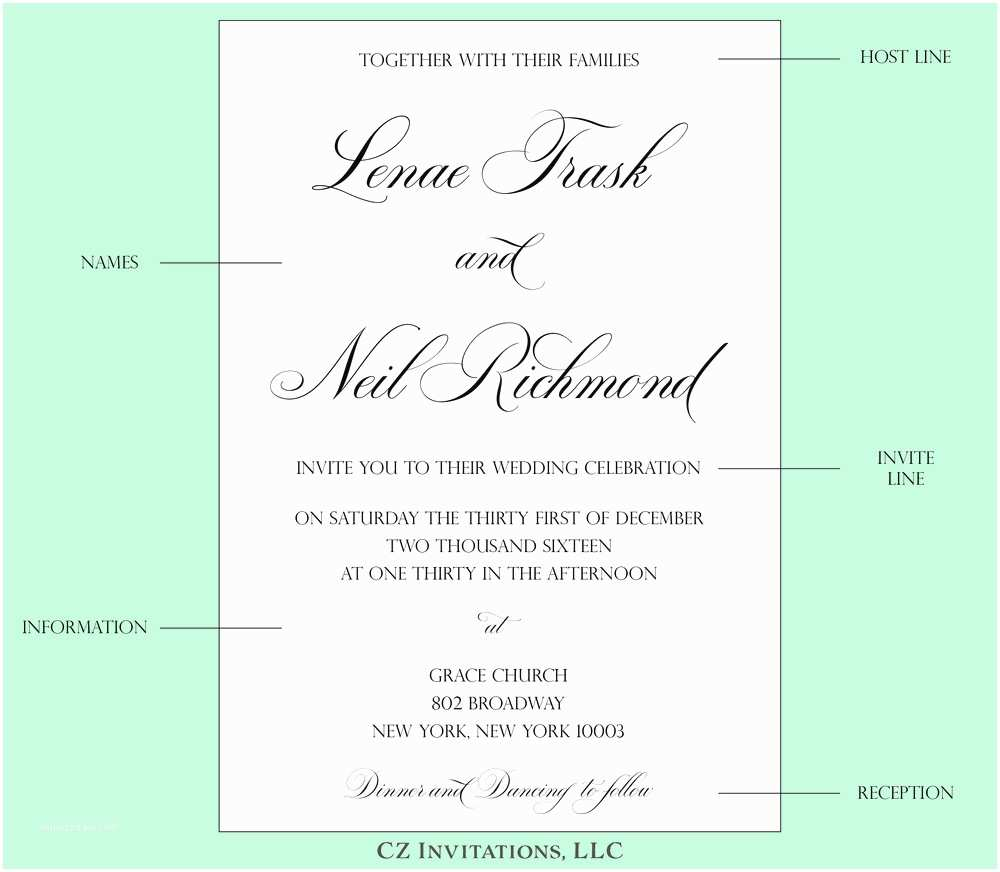 Wedding Invitation format How to Wedding Invitation Wording — Cz Invitations