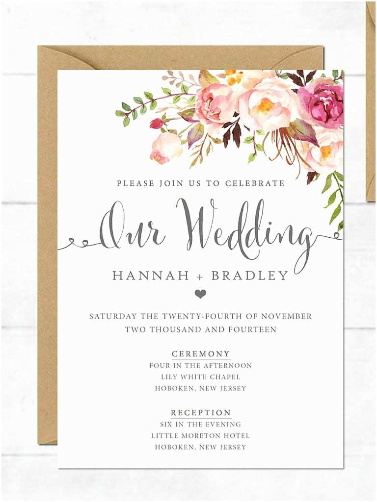 Wedding Invitation format Wedding Invitation Printable Wedding Invitation