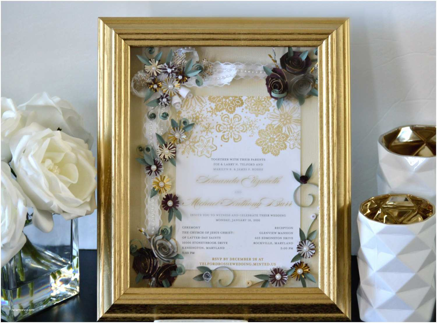 Wedding Invitation Frame Custom Wedding Invitation Framed Wedding